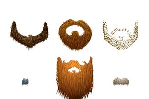 Set of cartoon mustaches and beards