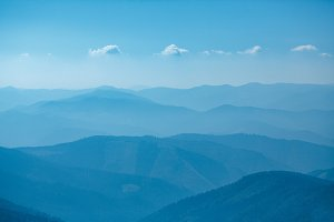 Blue mountains in Ukraine Carpathians