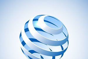 Blue vector spiral sphere. 3d icon