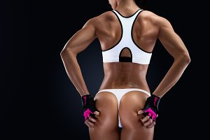 Female bodybuilder turned back