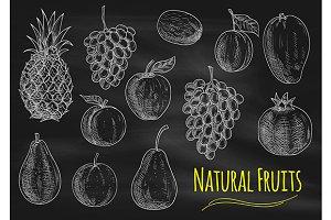 Fruits chalk sketches on blackboard