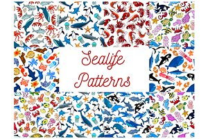 Sea life animals and fishes patterns
