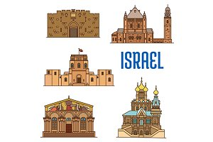 Israel vector landmark icons