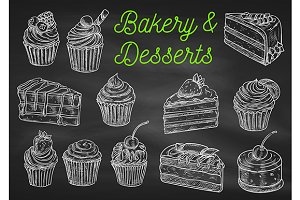 Bakery and desserts chalk sketches
