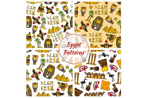 Egyptian culture seamless patterns