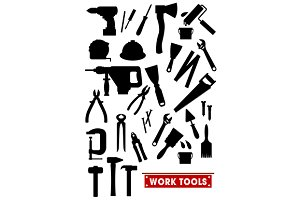 Work tools silhouette icons