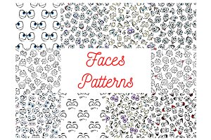 Human faces seamless patterns