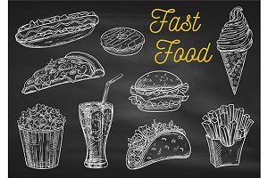Fast food chalk sketch icons