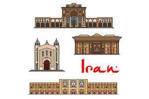Iran famous vector landmarks