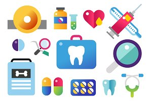 Dental vector icons set
