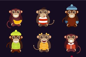 Cartoon vector christmas monkey