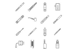 Vape icons set, outline style
