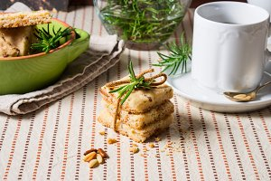 Home made cookies with rosemary and pine nuts
