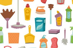 Cleaning tools seamless pattern