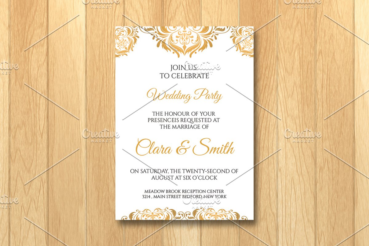 Wedding Invitation Card Template Templates Creative Market