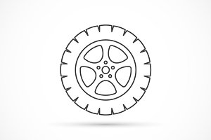 Car wheel outline icon