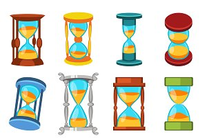 Sandglass icons set vector