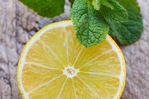 Juicy ripe lemon and mint