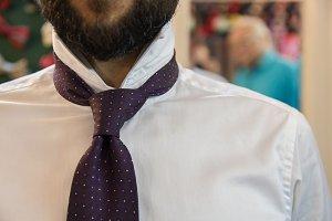 gentleman testin new tie