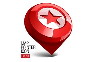 Shiny gloss red Map pointer