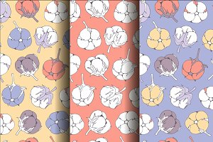 Set seamless cotton patterns