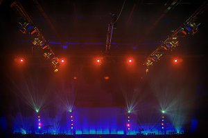Stage lights in red and blue