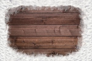 Wood and snow background v1
