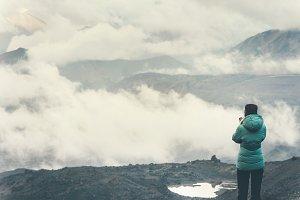 Traveler enjoy cloudy mountains