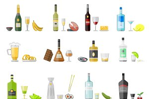 Alcohol drinks beverages vector