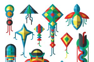 Kite wind summer toy flat vector