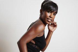 black woman in body suite underwear