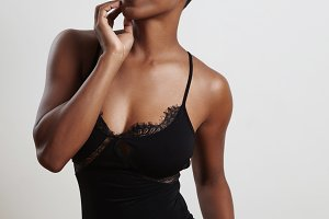 black woman in body suite underwear