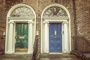 Green and blue doors in Dublin
