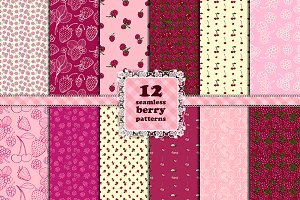 Berry set. 12 seamless patterns