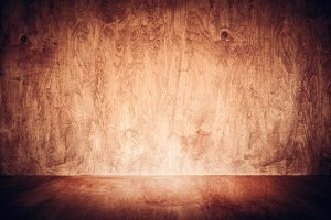 Wooden floor and wall background with copy-space. Grunge wood