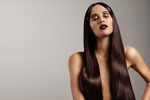 woman with long ideal straight hair