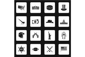 USA icons set in simple style