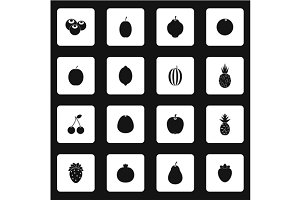 Fruit icons set, simple style