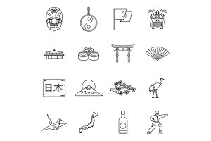 Japan icons set, outline style