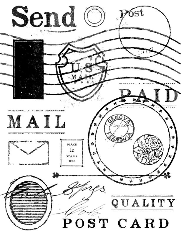 Vintage Mail Stamp Brushes Pack ~ Photoshop Add-Ons