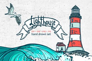 Hand drawn Lighthouse set