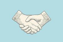 Vintage drawing of handshake