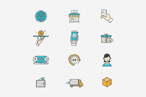 Delivery and e-commerce line icons.