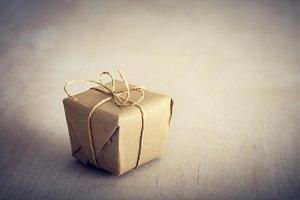 Rustic retro gift, present box. Christmas time