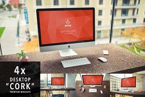 """4 PSD Mockups iMac """"Cork"""""""