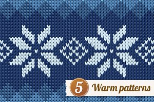 5 knitted patterns.