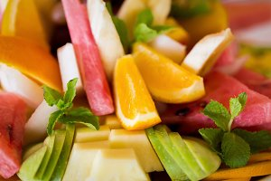 Fresh fruit cuts salad