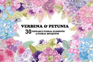 Verbena and Petunia Floral Clip Art