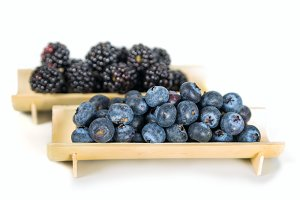 Fresh blueberries and blackberries