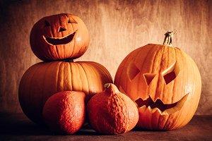 Halloween pumpkins, carved jack-o-lantern.